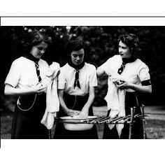 Photographic Print of Girl Guides Princess Elizabeth washing up, 1944