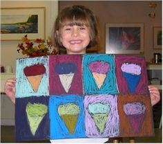 Warhol for Preschool! Pop Art Ice Cream Painting - Art History - KinderArt ---- Take this and make it more complicated, beginning of the year ice cream social project Painting Lessons, Art Lessons, Painting Art, Learn Painting, Drawing Lessons, Art Paintings, Kindergarten Art, Preschool Art, Pop Art For Kids