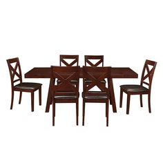 7 Piece Espresso Solid Wood Trestle Style Dining Set