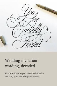 Asking your friends and family to attend your wedding should be easy, right? We've broken down wedding invitation wording traditions and etiquette. Black And White Wedding Invitations, Beautiful Wedding Invitations, Paperless Post, Wedding Save The Dates, Wedding Invitation Wording, Modern Calligraphy, Tool Design, Etiquette, Rsvp