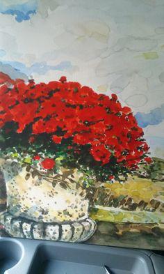 수채화 붉은 꽃이 있는 화분
