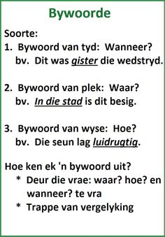 Woordsoorte: Bywoorde Reading Skills, Writing Skills, Afrikaans Language, School Fun, School Pics, School Stuff, Grammar Posters, Learn Dutch, Preschool Learning Activities