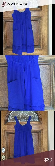 "ANTHROPOLOGIE DRESS Cobalt blue dress with deep front pockets. Empire waist with front elastic center. Ruffles at bottom. 2"" hem. Elastic at waist. Fully lined. 100% cotton. 34"" length. 28"" armpit to armpit. 25"" waist that stretches to 32"". Fits like small. Anthropologie Dresses"