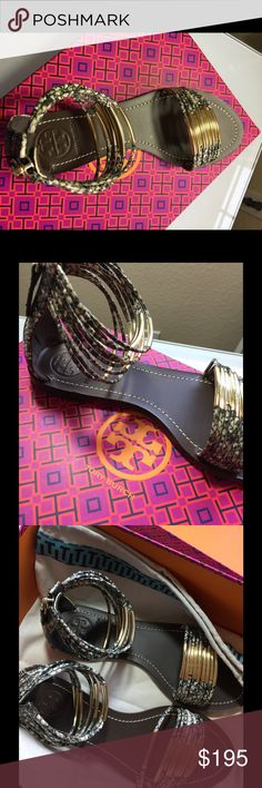 NWT Tory Burch Sandals 7 Awesomeness Tory sandals  New with dust bag and box  Size 7 M Migon rings flat sandals  $275 Tory Burch Shoes Flats & Loafers