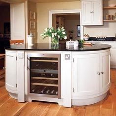Kitchen Design & Remodeling : Go for a curvy kitchen island design rather than the usual rectangular shape to Kitchen Island Table, Kitchen Island With Seating, Kitchen Island Lighting, Kitchen Cabinets, Kitchen Islands, White Cabinets, New Kitchen Interior, Kitchen Decor, Kitchen Ideas