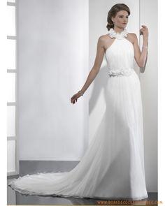 Robe A-ligne en mousseline de soie ornée de plis et de fleurs robe de mariée 2011
