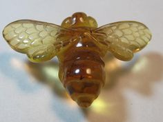 carved Amber Bee bead ....... Real ... Natural by creativecabs