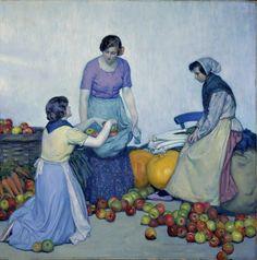 "kafkasapartment: "" Apples, 1912. Myron G. Barlow. Oil on canvas """