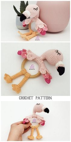 Amigurumi Flamingo Free Pattern - Amigurumi Daily Crochet Flamingo, Crochet Elephant Pattern, Crochet Patterns, Crochet Ideas, Crochet Toys, Crochet Baby, Free Crochet, Christmas Card Crochet, Cute Stuffed Animals