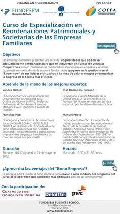 Curso especialización en Reordenaciones Patrimoniales y Societarias en las Empresas (17 de Abril).