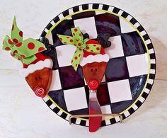 "Mudd Pie Rudolph Plate W/Matching Rudolph Spreader - 8 1/2"" Plate - NW/OT #MuddPie"