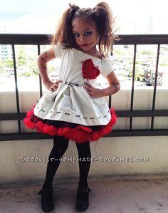 Little Voodoo Doll Costume - Halloween Ideas - Costume Creepy Doll Halloween Costume, Voodoo Doll Halloween Costume, Voodoo Dolls, Halloween Costumes For Girls, Halloween Cosplay, Halloween Makeup, Halloween Ideas, Halloween Cat, Halloween 2018