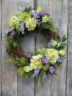 Spring wreath summer wreath front door wreath designer wreath hydrangea wreath home decorations Easter Wreaths, Holiday Wreaths, Yarn Wreaths, Mesh Wreaths, Spring Front Door Wreaths, Spring Wreaths, Hydrangea Wreath, Green Hydrangea, Deco Floral