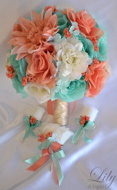 Wedding Bridal Bouquets 17 Piece Package Bouquet by LilyOfAngeles