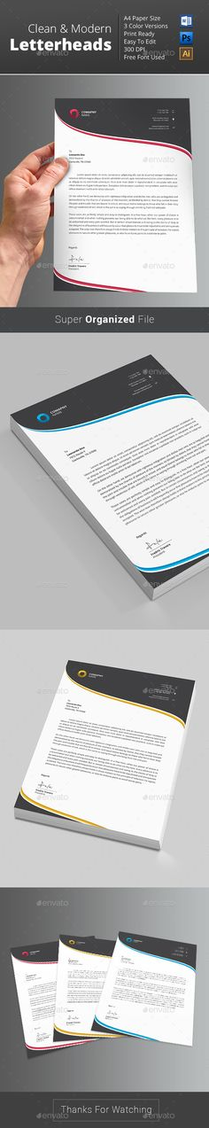 Buy Letterhead by themedevisers on GraphicRiver. Letterhead Word Template with super modern and Corporate look. Corporate Letterhead page designs are very easy to us. Company Letterhead Template, Letterhead Printing, Stationery Printing, Stationery Design, Resume Design, Brochure Design, Letterhead Design Inspiration, Folders, Business Letter