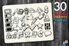 Check out 30 Hand Drawn Icons by Salih Gonenli on Creative Market