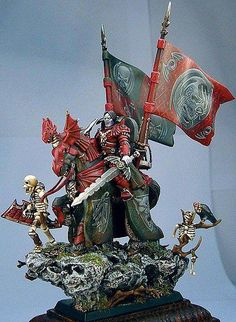 Vampire riding a steed from Golden Demons Warhammer 40k Figures, Warhammer 40k Miniatures, Warhammer Fantasy, Fantasy Battle, Medieval Fantasy, Dark Fantasy Art, Fantasy Paintings, Mini Paintings, Dungeons And Dragons Figurines