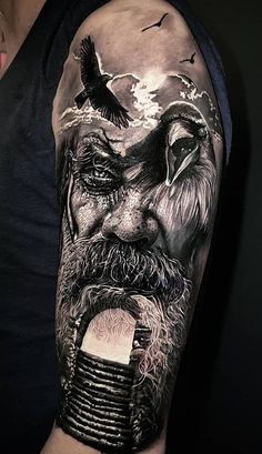 Realistic tattoos with morphing effects by Benji Roketlauncha - Top tattoo . - Realistic tattoos with morphing effects by Benji Roketlauncha – top tattoos – - Norse Mythology Tattoo, Norse Tattoo, Raven Tattoo, Hai Tattoos, Body Art Tattoos, Tattoos For Guys, Viking Tattoos For Men, Wing Tattoos, Black Ink Tattoos