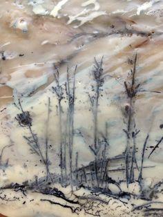 Encaustic Wax Art using mixed media, ink, graphite, pigments and handmade encaustic wax medium and original drawing