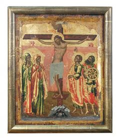 A Northern Greek Century icon depicting the Crucifixion, with Mary Magdalene, the Mother of God, Saint John the Evangelist at. St John The Evangelist, Life Of Christ, Oak Panels, Roman Soldiers, Mary Magdalene, Orthodox Icons, Crucifix, View Image, 18th Century