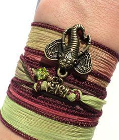Bohemian Silk Wrap Bracelet Ganesha Yoga by BohemianEarthDesigns, $26.95