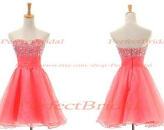 Short Coral Homecoming Dress,Short Homecoming Dress,Coral Short Dress,Short Prom Dress 2014 BD100017 #EasyNip