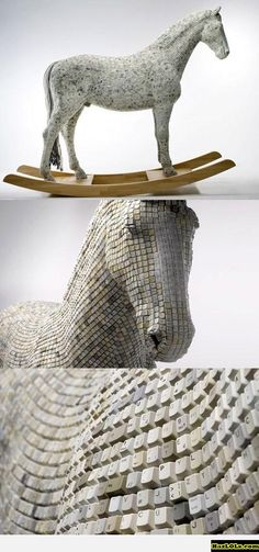 Funny pictures about Trojan horse made from computer keys. Oh, and cool pics about Trojan horse made from computer keys. Also, Trojan horse made from computer keys photos. Horse Sculpture, Animal Sculptures, Land Art, Trojan Horse, Creation Art, 3d Fantasy, 3d Studio, Equine Art, Recycled Art