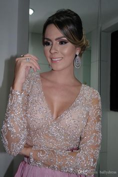 Stunning Real Picture Vestidos De Bridesmaids Dresses para madrinhas Beads Nude Pink Satin A-Line Long Sleeves Charming Floor length