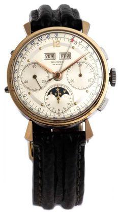 RECORD Mondphase mit Chronograph Mondphasen-Chronograph von RECORD in einem Stahlgehäuse mit feiner — Armbanduhren