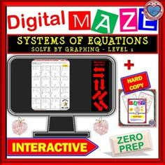DIGITAL Maze - System of Equations - Solve by Graphing Level 1 Distance Learning Cooperative Learning, Fun Learning, Student Learning, Systems Of Equations, Solving Equations, Math Stations, Math Centers, 12th Maths, Secondary Teacher