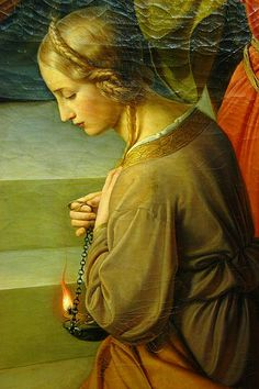 """The Parable of the Wise and Foolish Virgins detail, 1838–42, Städel Museum, Frankfurt am Main Friedrich Wilhelm Schadow . Artemis: the parable… :-/ From Wiki: """"The Parable of the Ten Virgins, also..."""