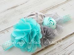 Aqua & Silver Fabric Flower Headband - newborn, girls, baby, toddler, bows, photography, photo, prop, bow, princess, anna, frozen