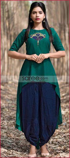 Green Silk High Low Kurti with Zari Embroidery Pakistani Dresses Casual, Indian Dresses, Western Kurtis Design, Embroidery Dress, White Embroidery, Kurta Style, Ethnic Wear Designer, Western Dresses, Green Silk