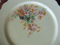 4 W.S. George CANARYTONE LIDO dinner plates BLACK BASKET orange+pink flowers