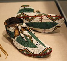 "19th century beaded Cheyenne Mocassins via Teyacapan on Flickr. Photo found at website, ""This Beadiful World."""