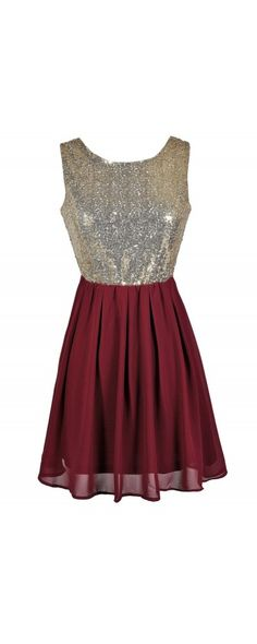 Go For Gold Sequin and Chiffon Dress in Burgundy  www.lilyboutique.com