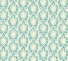 Tilda fabric Vintage Ornament Blue by Colliecollie #midcentury #mod #retro #wallpaper
