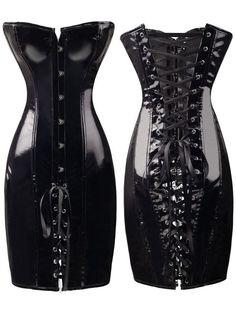 Sexy Womens Black PVC Corset Fetish Dress Ladies Dominatrix Nightclubs corset S-XXL