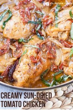 Creamy Sun-dried Tomato Chicken Recipe {Paleo, Clean Eating, Gluten Free, Dairy Free, Whole30} - can you believe that this creamy chicken with rich, sunny flavor is healthy for you? Plus, it's easy to throw together in 15 minutes and then do whatever you want while it bakes.