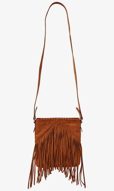 Faux Suede Fringe Cross Body Bag from EXPRESS