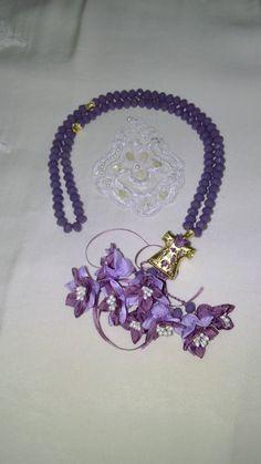 Mor Taş,Kaftan İmame ve Eflatun renk çiçek kombini. #tesbih #tasarım #moda #kadın #namaz #aksesuar #hediyelik