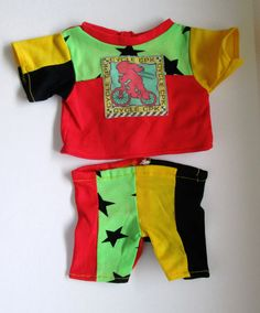 Vintage Cabbage Patch Doll Clothes Cycle CPK Spandex Color Block Bike Outfit #ClothingAccessories
