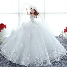 Luxury Princess Dress Barbie Doll Wedding Dress Handwork Doll Children Birthday Gift Toy #Affiliate