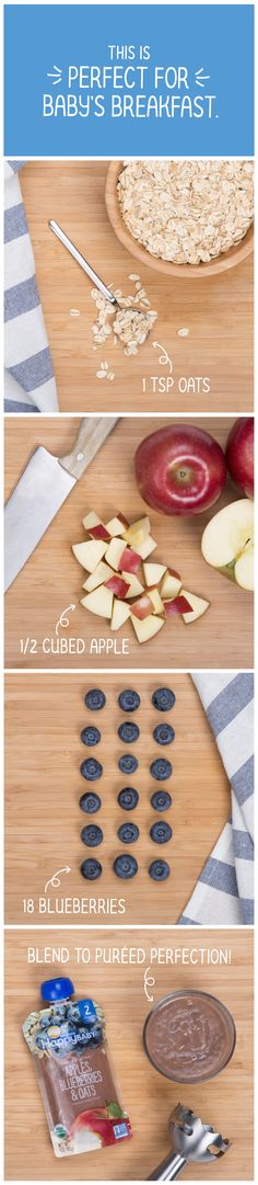 How do you make a wholesome breakfast for your baby? Start with a teaspoon of gluten free whole grain oats, add half a delicious  organic apple, and toss in 18 organic and antioxidantrich blueberries. Blend until smooth and serve! This is Happy Baby #ClearlyCrafted, and it's delicious. See for yourself…