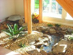 An aerator is far more economical than a pond heater, and it'll oxygenate the water whilst reducing ice develop. In addition, there are pond heaters it is possible to place right into the pon… Pond Design, Garden Landscape Design, House Design, Landscape Designs, Indoor Pond, Indoor Water Garden, Indoor Outdoor, Landscaping Around House, Landscaping With Rocks