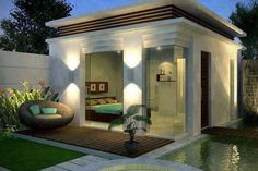 My pool house. Outdoor Rooms, Outdoor Living, Outdoor Decor, Outdoor Office, Style At Home, Exterior Design, Interior And Exterior, Pool Bedroom, My Pool