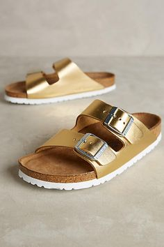 Birkenstock Arizona Slides Gold 38 Euro Sandals