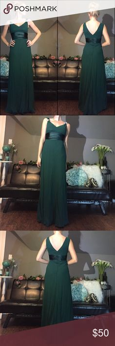 Hunter Green Floor Length Formal Chiffon Dress Hunter Green Floor Length Formal Chiffon Dress. Perfect dress for Homecoming, Prom, Pageants, Weddings, Balls, and other formal occasions.  New With Tags Hunter Green Quality Chiffon Material Size: 2 Built in Bust Cups Rhinestone Accents are Detachable Well Lined Not See Through Dresses Wedding