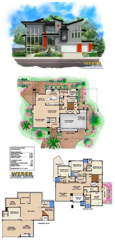F2-6385 - Modern house plan with 6,385 square feet of living area. 5 bedrooms, 5 full baths, 1 half bath and 3 car garage. More house plans: https://www.weberdesigngroup.com/house-plan-search/ #houseplans #houseplan #homeplans #homeplan #floorplan #floorplans