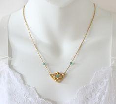 Vintage 1993 Signed Avon Genuine Adventurine Pendant Goldtone Light Green Semi Precious Gemstone Stone Rope Twist Chain Bib Necklace by ThePaisleyUnicorn on Etsy